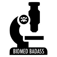 Logo to Biomed Badass, an icon of a microscope with skull and bones on the arm.