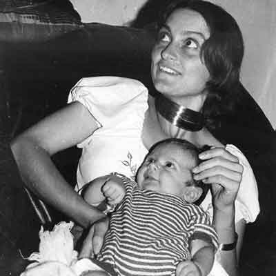 A black and white photo of Professor Emeritus Frances Separovic AO holding her son when he was a baby.